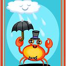 Singing In The Rain Crab Art Poster Print  by Jamie Wogan Edwards