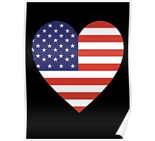 American Flag, Heart, on BLACK, Stars & Stripes, America, Americana,  Pure & Simple, America, USA Poster