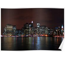 NYC Skyline from Brooklyn at night Poster