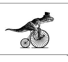 T-Rex on a Penny Farthing - Plain Back by Smaggers
