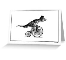 T-Rex on a Penny Farthing - Plain Back Greeting Card
