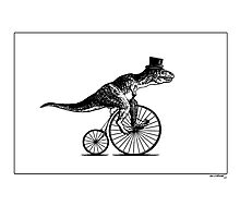 T-Rex on a Penny Farthing - Plain Back Photographic Print