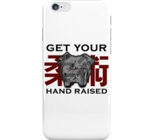 """Get Your Hand Raised"" - Jiu Jitsu Bulldog (on white) iPhone Case/Skin"