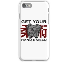 """Get Your Hand Raised"" - Jiu Jitsu Bulldog (on white) iPhone Case/Skin"