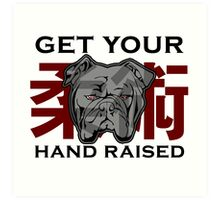 """Get Your Hand Raised"" - Jiu Jitsu Bulldog (on white) Art Print"