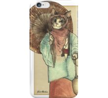 Umbrella Halfing Cat with Her Lantern iPhone Case/Skin