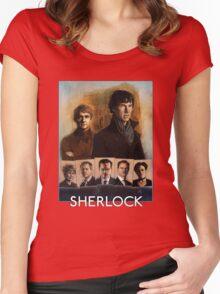 Sherlock Cast Portraits Women's Fitted Scoop T-Shirt