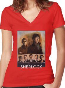 Sherlock Cast Portraits Women's Fitted V-Neck T-Shirt