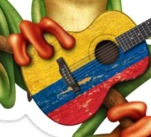 Tree Frog Playing Colombian Flag Guitar Sticker