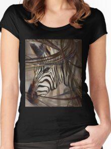 "Zebra ""African animals"" Safari animals,wildlife,wildlife art,nature Women's Fitted Scoop T-Shirt"
