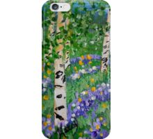 Aspen Trees, spring flowers, lavender, wall art, impressionism, home decor iPhone Case/Skin