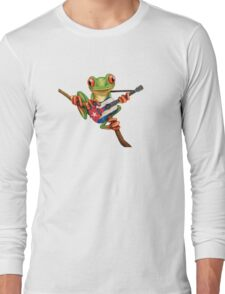 Tree Frog Playing Cuban Flag Guitar Long Sleeve T-Shirt
