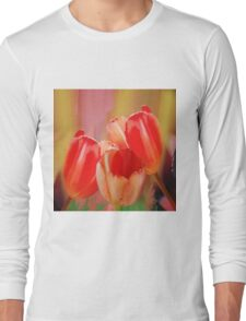 Three colourful tulips on an abstract background Long Sleeve T-Shirt