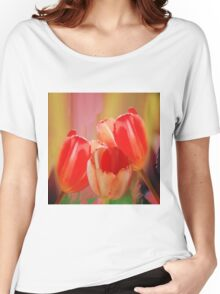 Three colourful tulips on an abstract background Women's Relaxed Fit T-Shirt