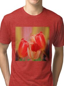 Three colourful tulips on an abstract background Tri-blend T-Shirt