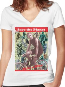 Save the Planet, Ride a Bike! Women's Fitted V-Neck T-Shirt
