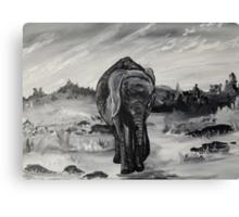 Elephant Black and White Canvas Print