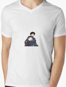 Roy Mustang Sticker Mens V-Neck T-Shirt