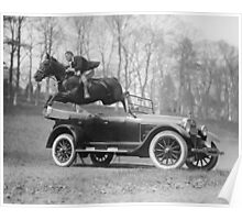 Horse Jumping Over Automobile, 1923 Poster