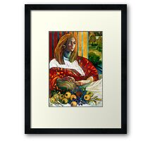 sitting lady with fruit Framed Print