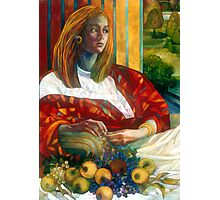 sitting lady with fruit Photographic Print