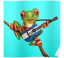 Tree Frog Playing El Salvador Flag Guitar Poster