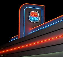 Route 66 Diner by Sally P  Moore