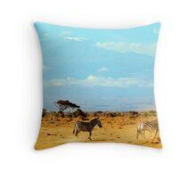 Kilimanjaro and Zebras Throw Pillow