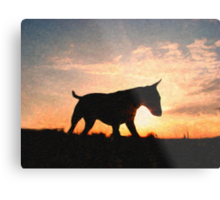 English Bull Terrier against Sunset, Oil Painting Style Print Metal Print