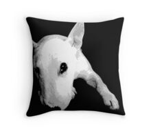 English Bull Terrier Dog, Black and White Pop Art Print Throw Pillow
