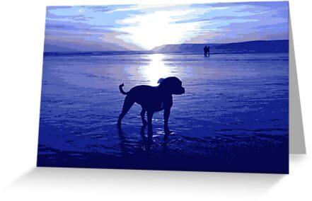 Staffordshire Bull Terrier on Beach in Blue, Pop Art Print by Michael Tompsett