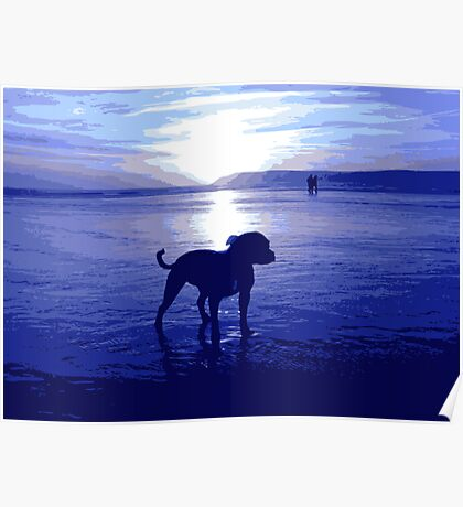 Staffordshire Bull Terrier on Beach in Blue, Pop Art Print Poster