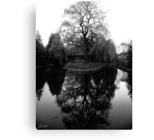 Reflecting Willow Black&White Canvas Print
