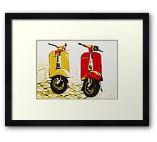 Vespa Scooters on Cobble Street, Pop Art Framed Print