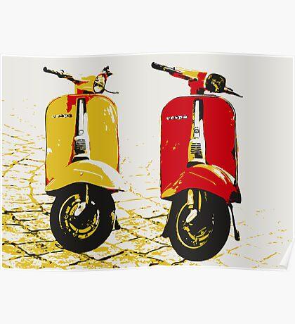 Vespa Scooters on Cobble Street, Pop Art Poster