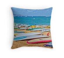 SUP Surfboards in the Sand Throw Pillow