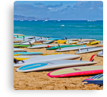 SUP Surfboards in the Sand Canvas Print