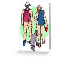 Bare Dog Walking Couple Greeting Card