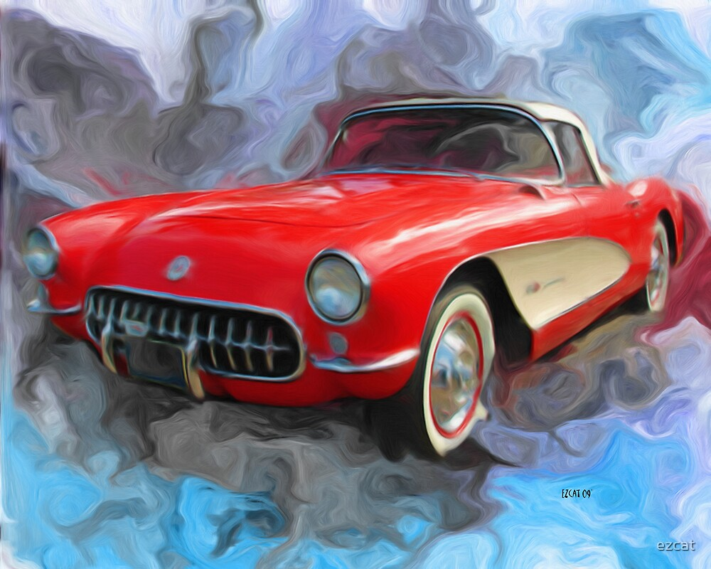 Red 57' Corvette Convertible by ezcat