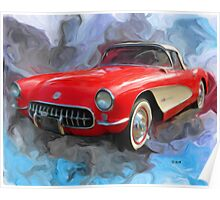 Red 57' Corvette Convertible Poster