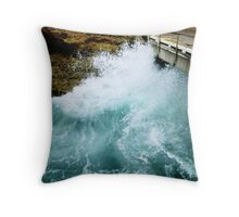 Ocean wave against the wall at Pt. Campbell Jetty, Vic. Australia Throw Pillow