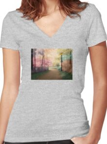 A Walk In The Park - Infrared Series Women's Fitted V-Neck T-Shirt