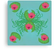 Lily Pads and Pink Flowers Canvas Print