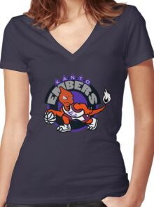 Kanto Embers Women's Fitted V-Neck T-Shirt