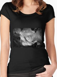 Yellow rose in black and white Women's Fitted Scoop T-Shirt