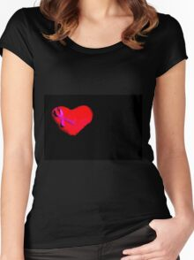 Heart with pink bow Women's Fitted Scoop T-Shirt
