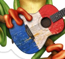 Tree Frog Playing French Flag Guitar Sticker