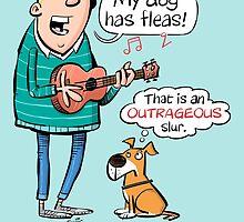My dog has fleas - Ukulele cartoon by timtoons