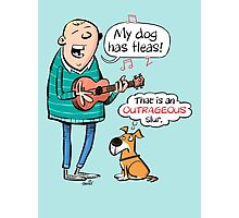 My dog has fleas - Ukulele cartoon Photographic Print