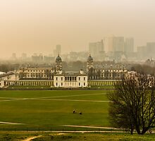 A Winter Afternoon at Greenwich - View of Queen's House and Canary Warf, England by atomov